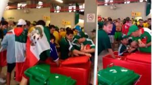 Robo de cervezas por parte de los aficionados de Mexico en el Mundial
